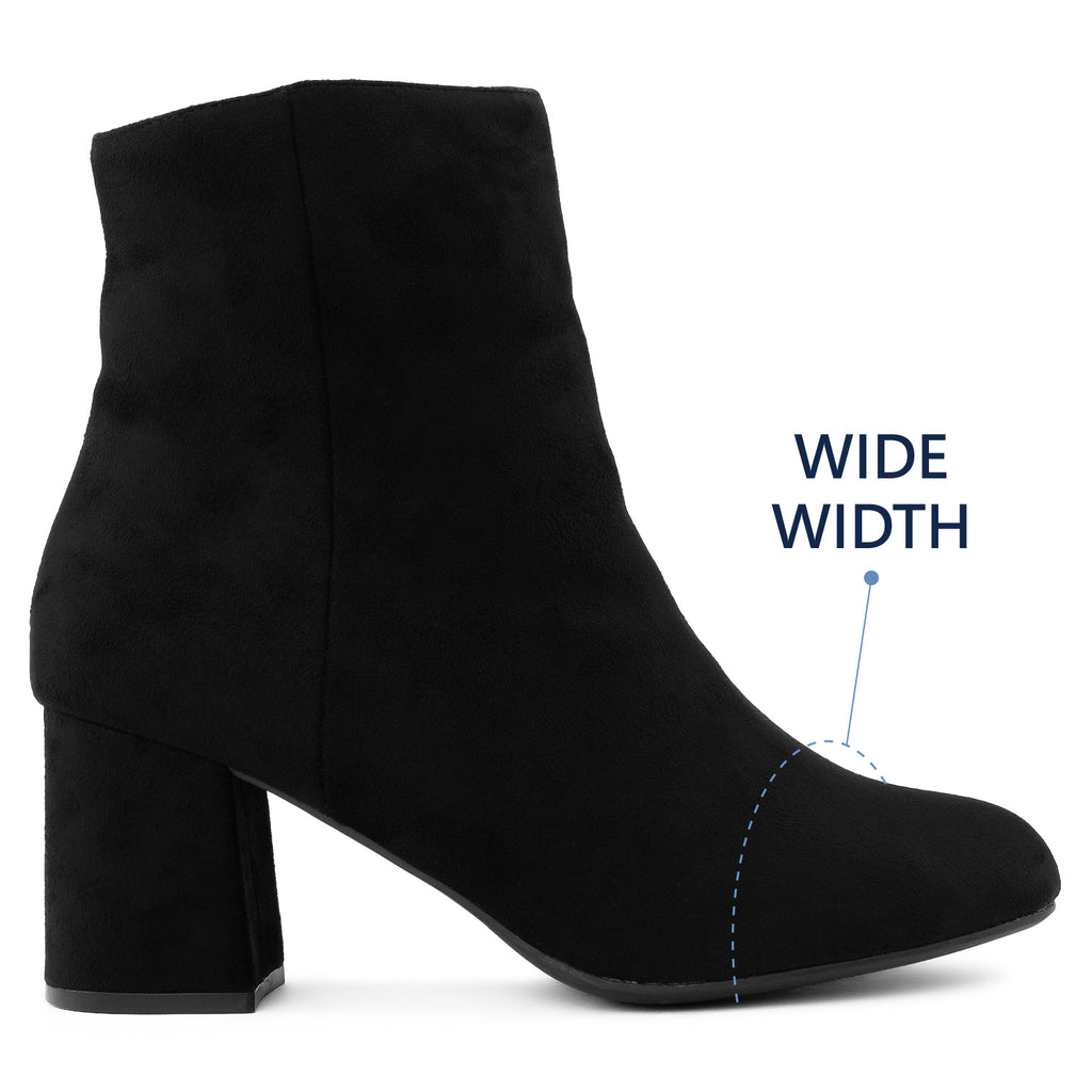 """Wide Width"" Block Heel Ankle Boots - Plus Size Friendly BLACK SUEDE"
