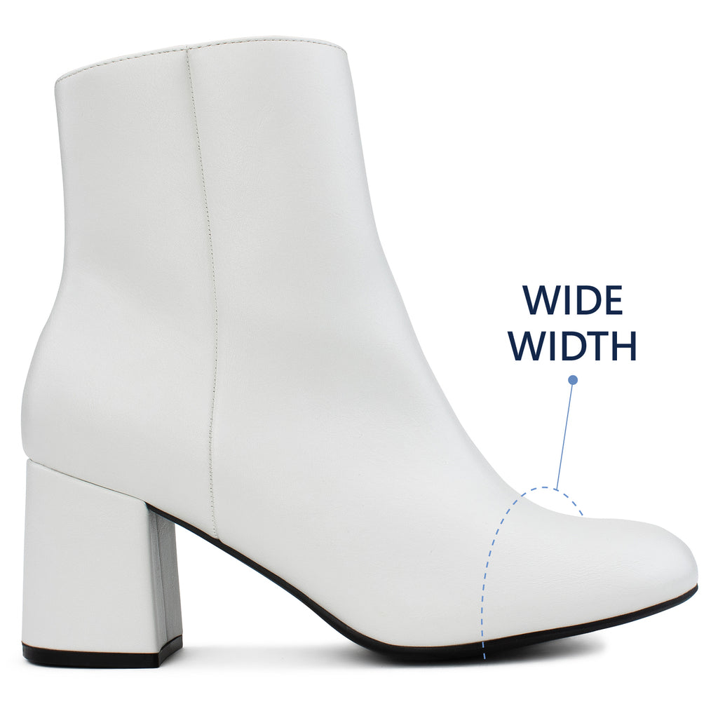 """Wide Width"" Block Heel Ankle Boots - Plus Size Friendly WHITE"