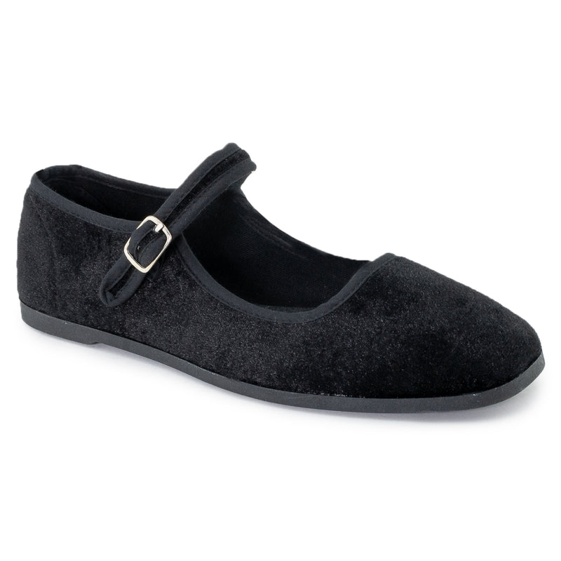 Mary Jane Ballet Flats Slip On Ballerina Flat Shoes BLACK