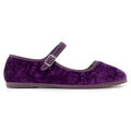 Round Toe Mary Jane Ballet Flats in Purple Velvet