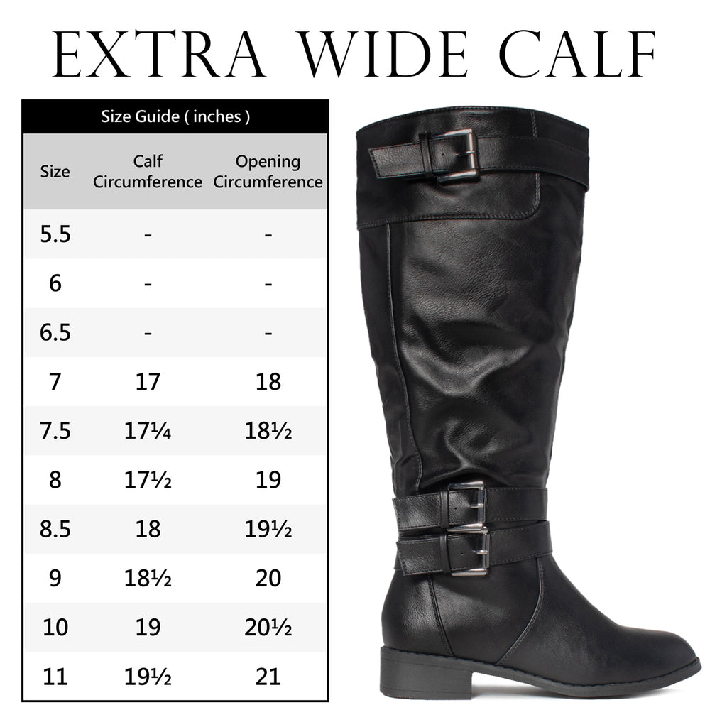 """Wide Calf"" Buckle Knee High Riding Boots Hidden Pocket BLACK"