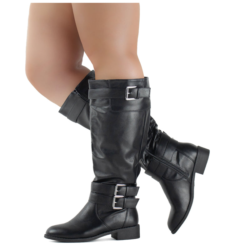 RF ROOM OF FASHION Madison-21 Wide Calf Riding Boots BLACK