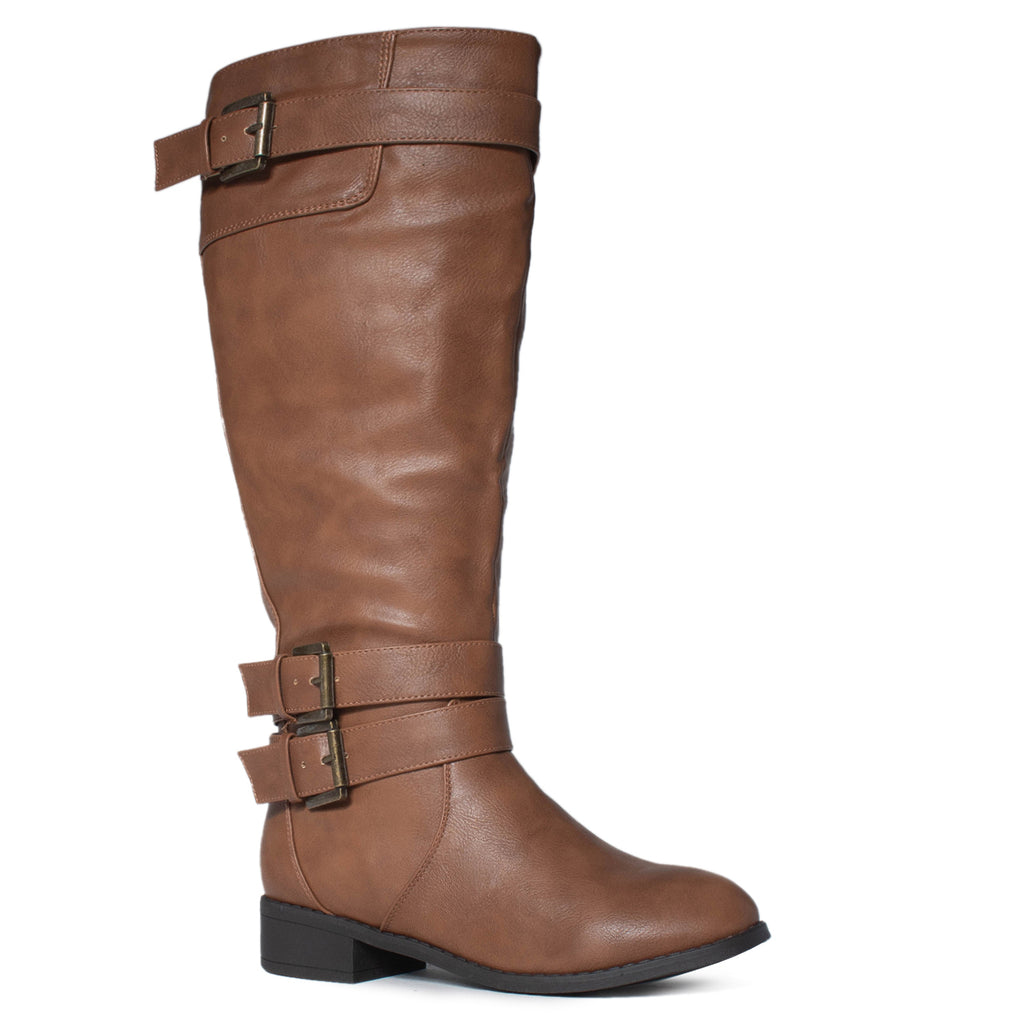 Extra Wide Calf Buckle Knee High Riding Boots w Pocket TAN
