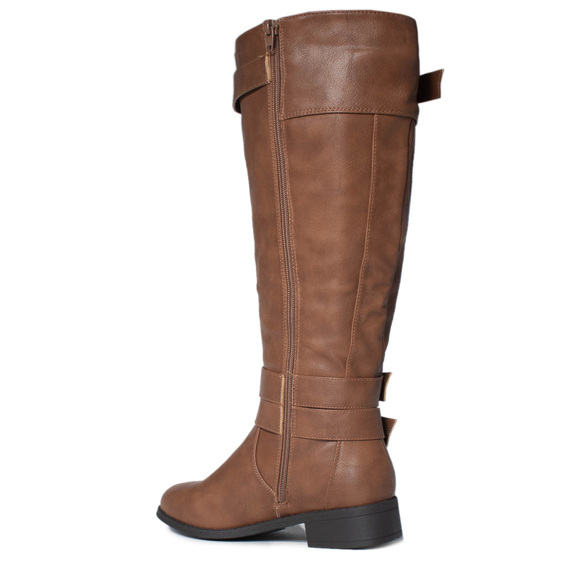 RF ROOM OF FASHION Madison-21 Wide Calf Riding Boots TAN