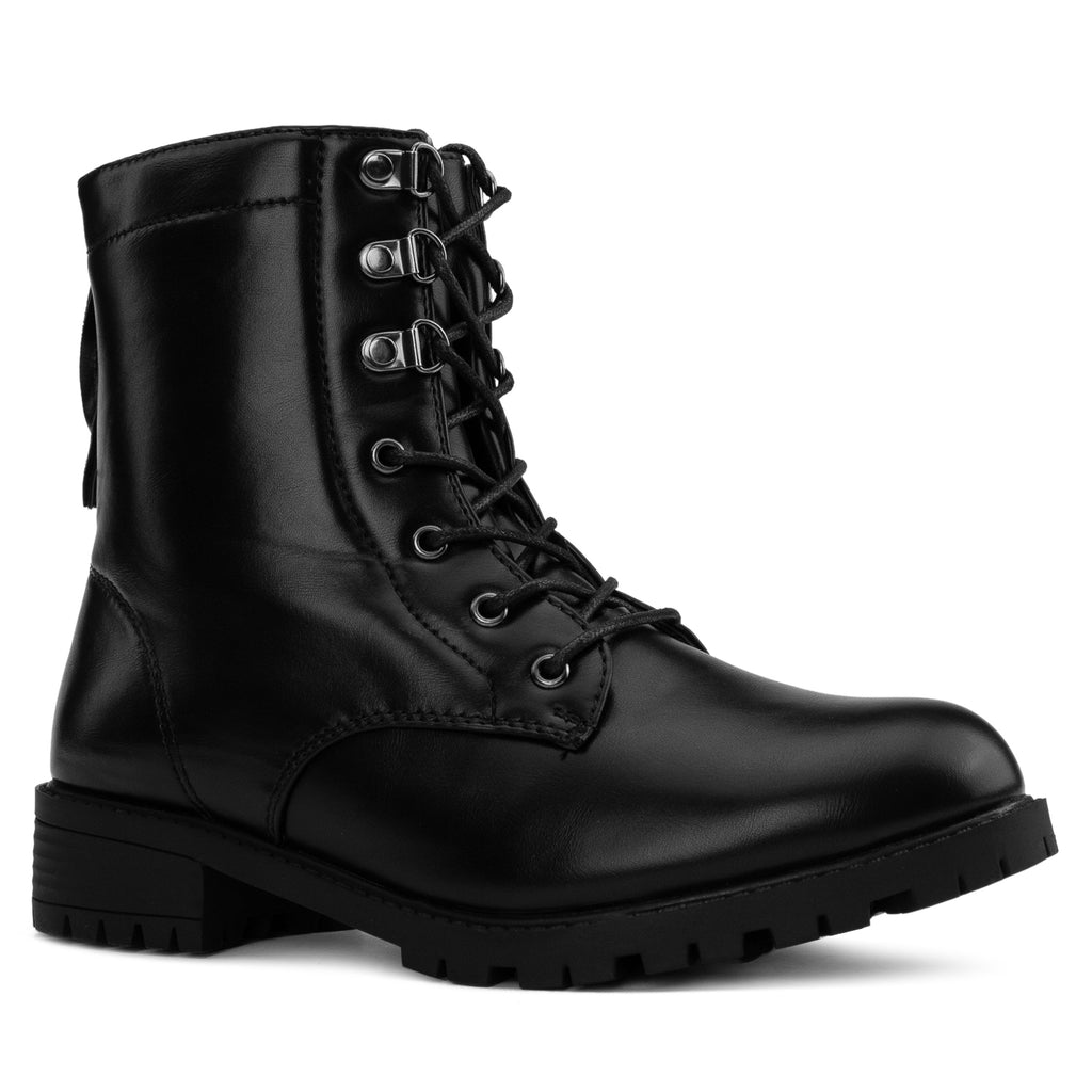"""Wide Ankle & Wide Width"" Lug Sole Combat Boots BLACK"