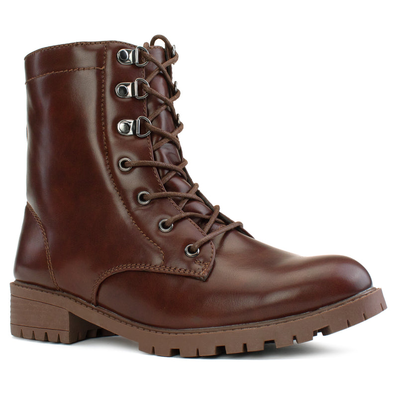"""Wide Ankle & Wide Width"" Lug Sole Combat Boots BROWN"