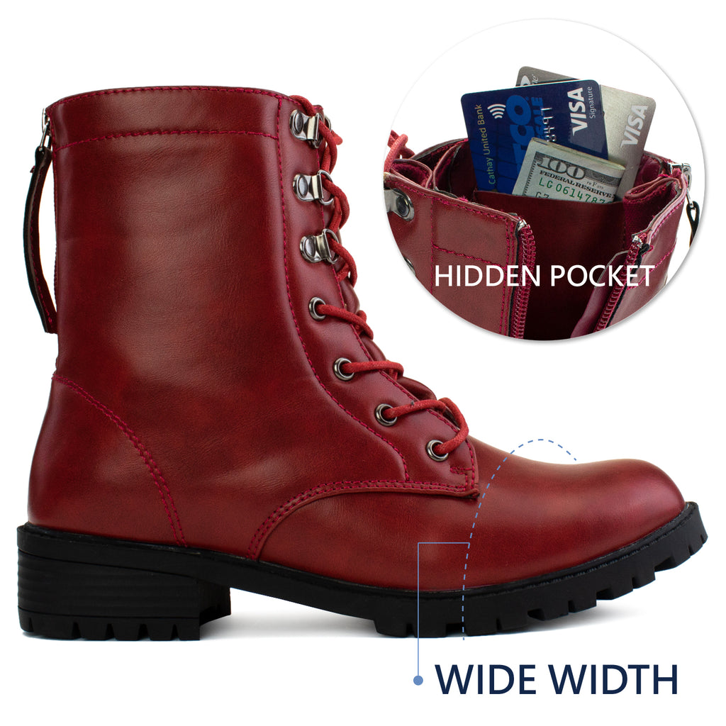"""Wide Ankle & Wide Width"" Lug Sole Combat Boots RED"