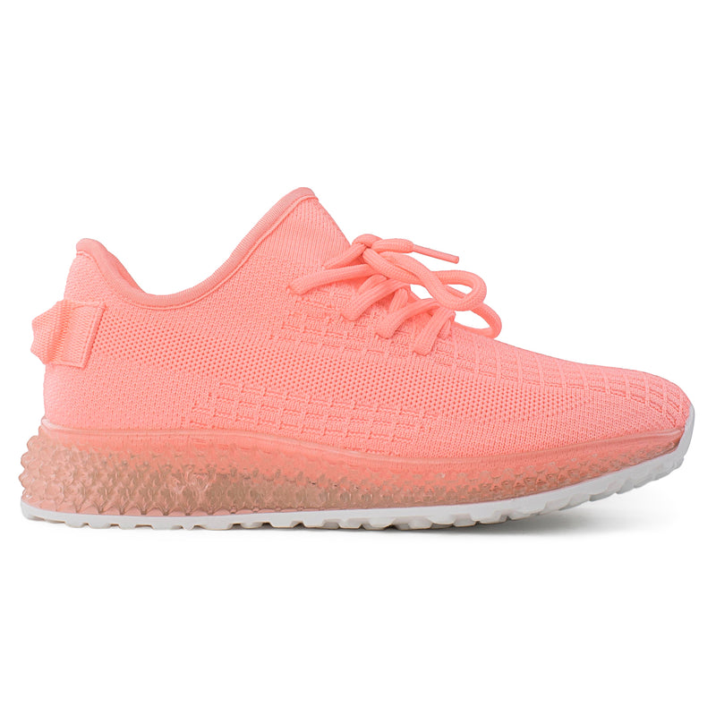 Women's Sock Feel Stretchy Knit Lace Up Comfort Walking Sneakers Shoes NEON PINK