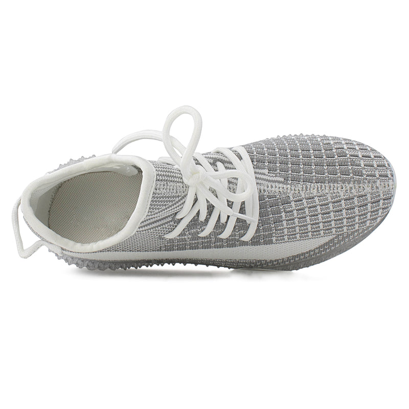 Women's Sock Feel Stretchy Knit Lace Up Comfort Walking Sneakers Shoes GREY