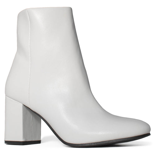 Chunky Heeled Side Zip Slim Fit Ankle Booties WHITE