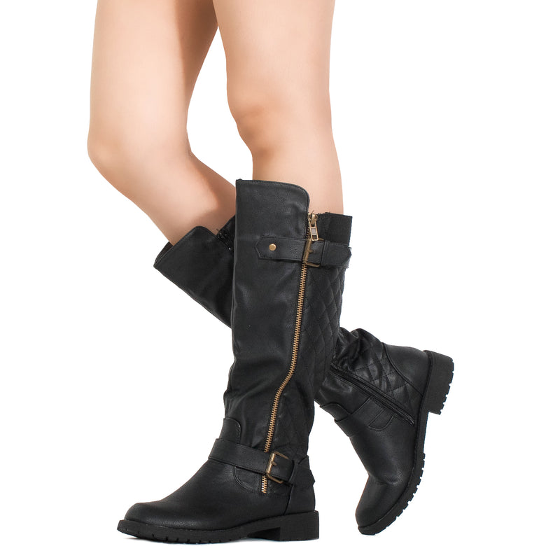 Lady's Regular Calf Knee High Riding Boots BLACK