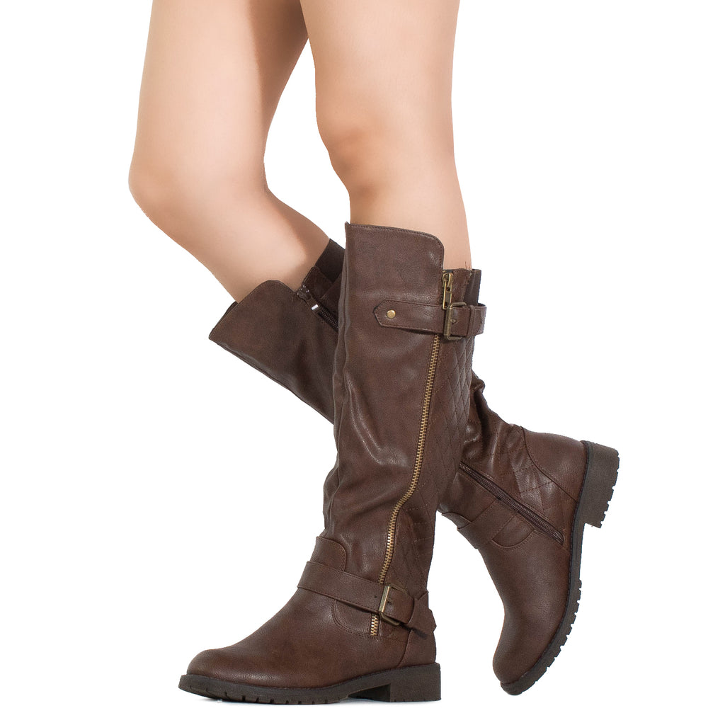 Lady's Regular Calf Knee High Riding Boots BROWN