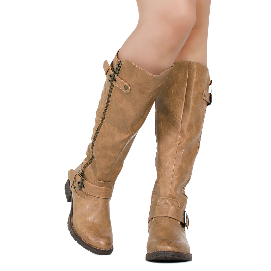 Lady's Regular Calf Knee High Riding Boots TAN