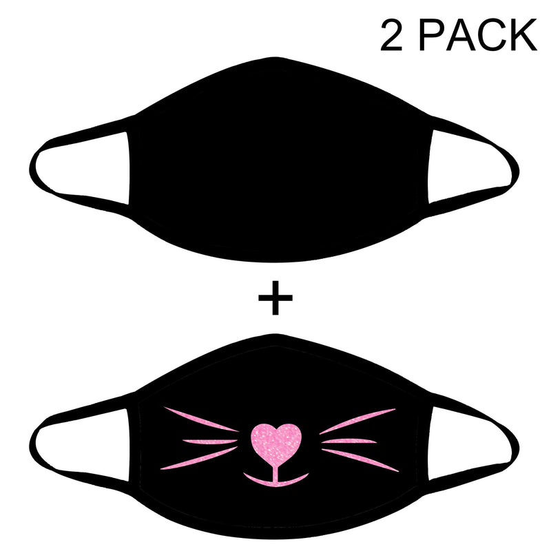 Fashion Face Mask Cotton Layer Unisex Reusable Washable 2 Pack (Black+Kitty)