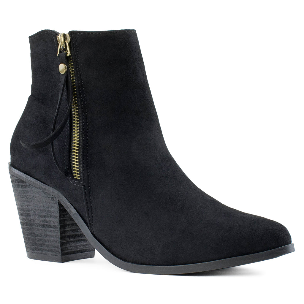 Women's Stacked Walking Heel Pointed Toe Ankle Bootie Boots BLACK