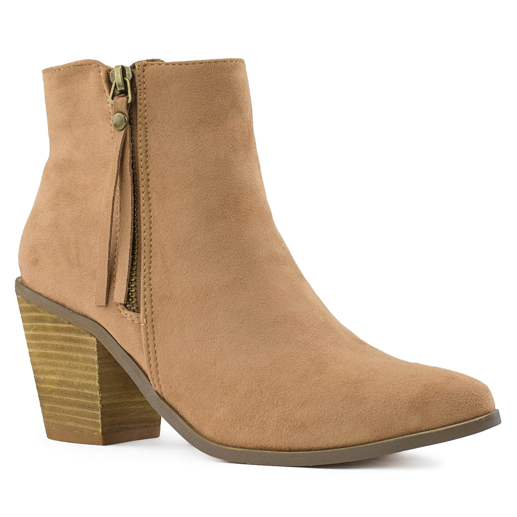 Women's Stacked Walking Heel Pointed Toe Ankle Bootie Boots TAUPE