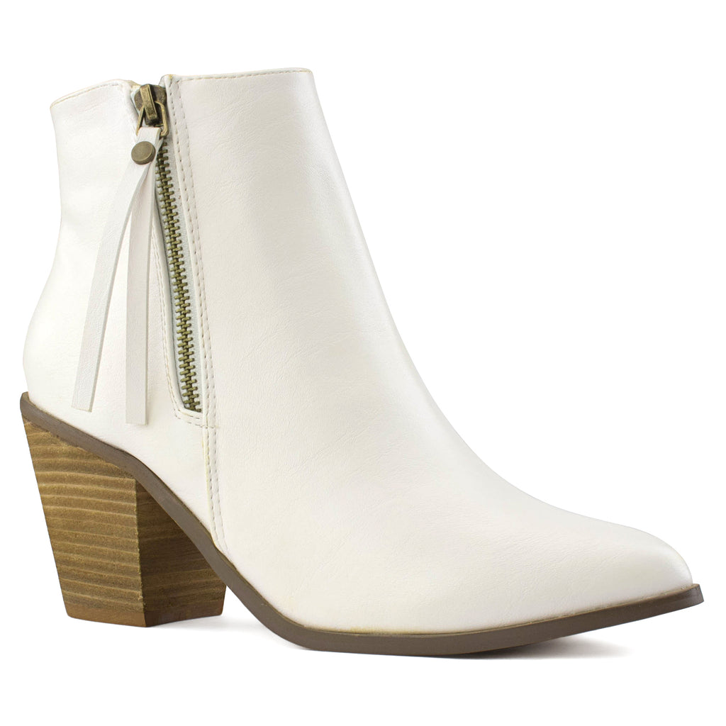 Women's Stacked Walking Heel Pointed Toe Ankle Bootie Boots WHITE