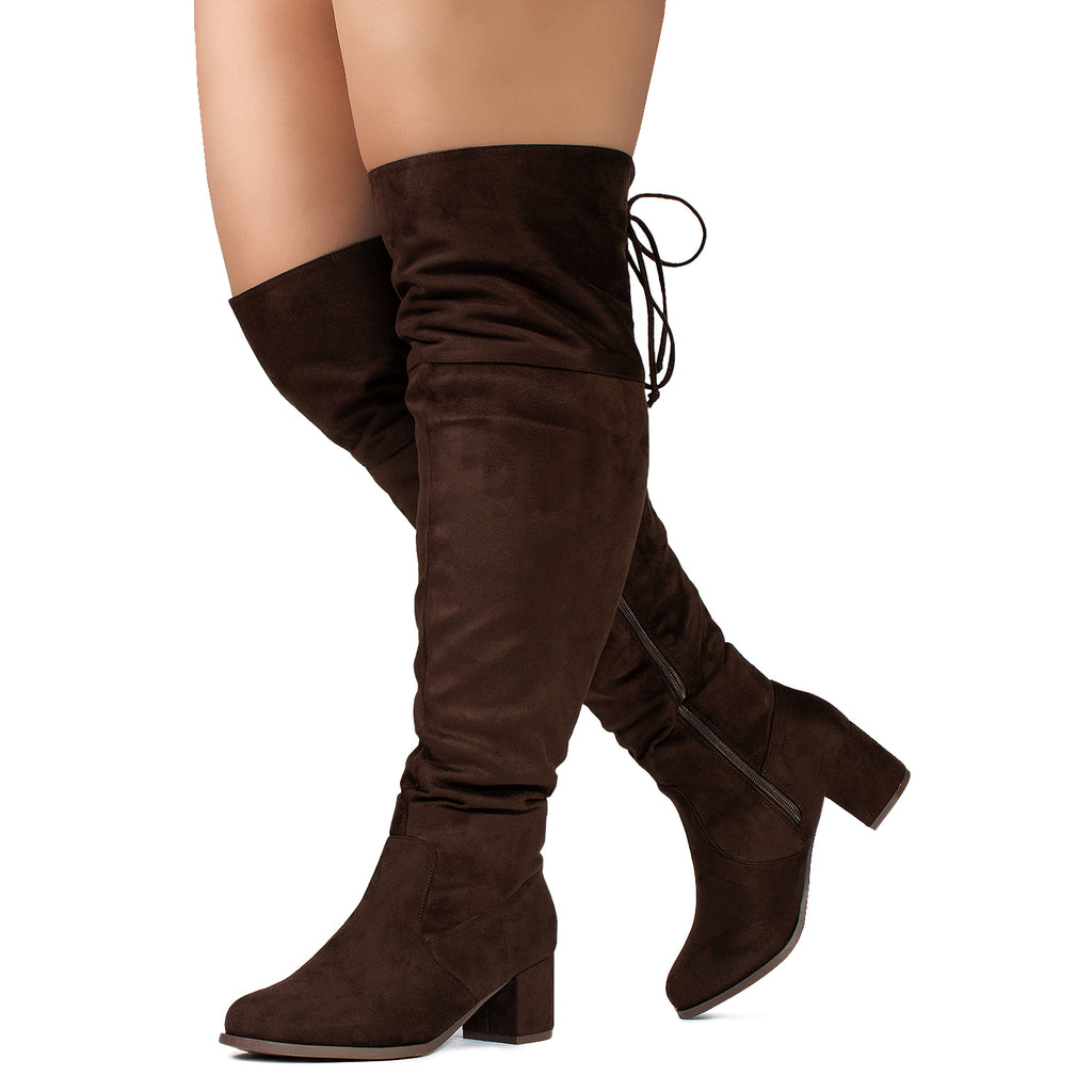 """Wide Calf & Wide Width"" Chunky Heel Over The Knee Boots BROWN"