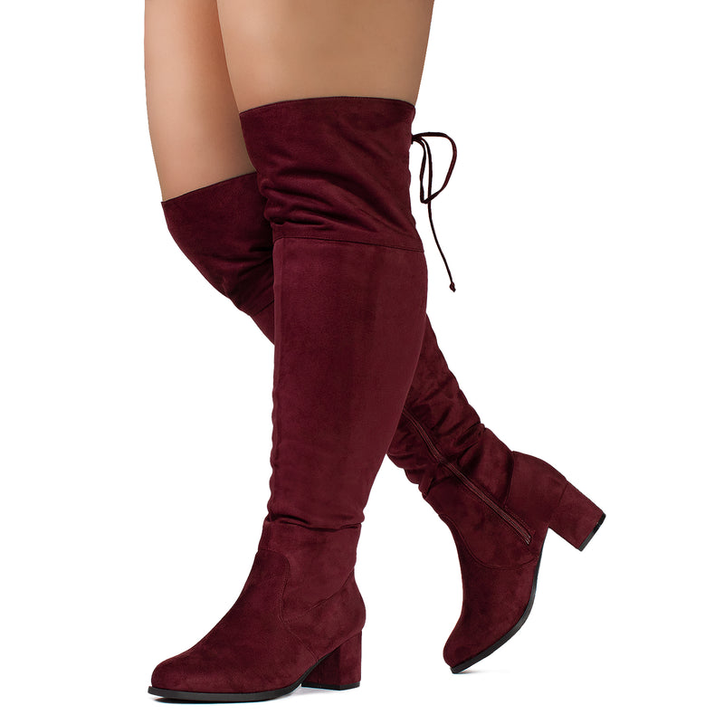 """Wide Calf & Wide Width"" Chunky Heel Over The Knee Boots BURGUNDY"