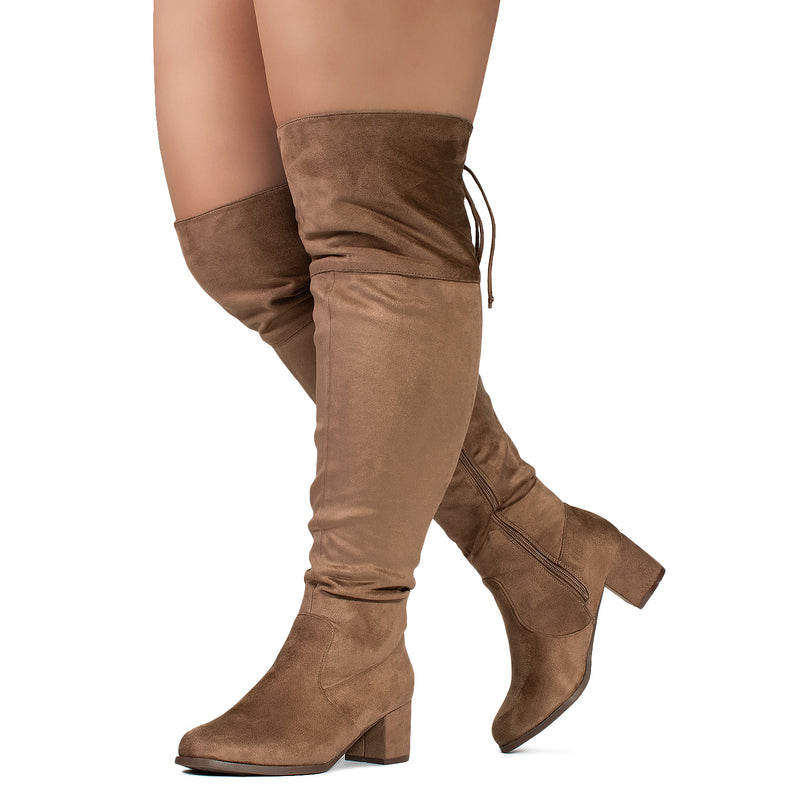 """Wide Calf & Wide Width"" Chunky Heel Over The Knee Boots TAUPE"