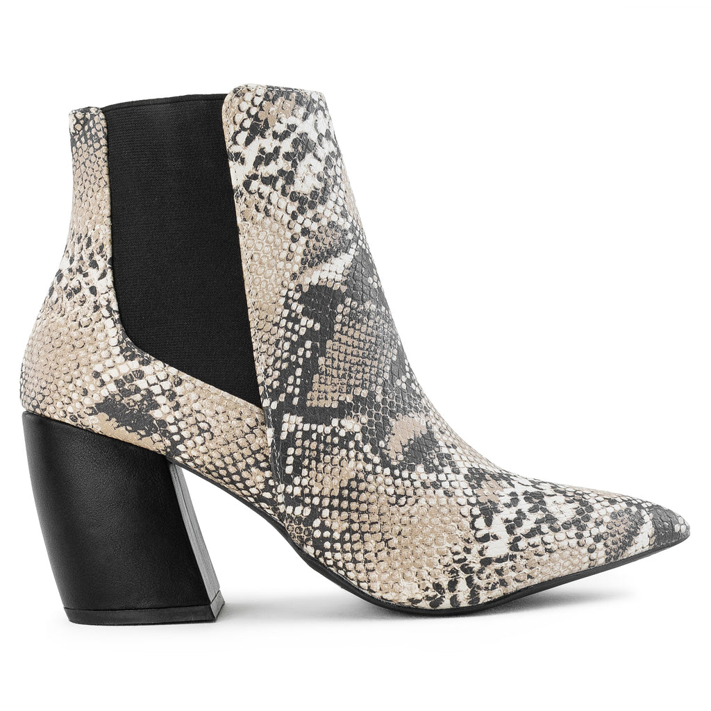 Pointy Toe Block Heel Chelsea Ankle Booties BEIGE SNAKE