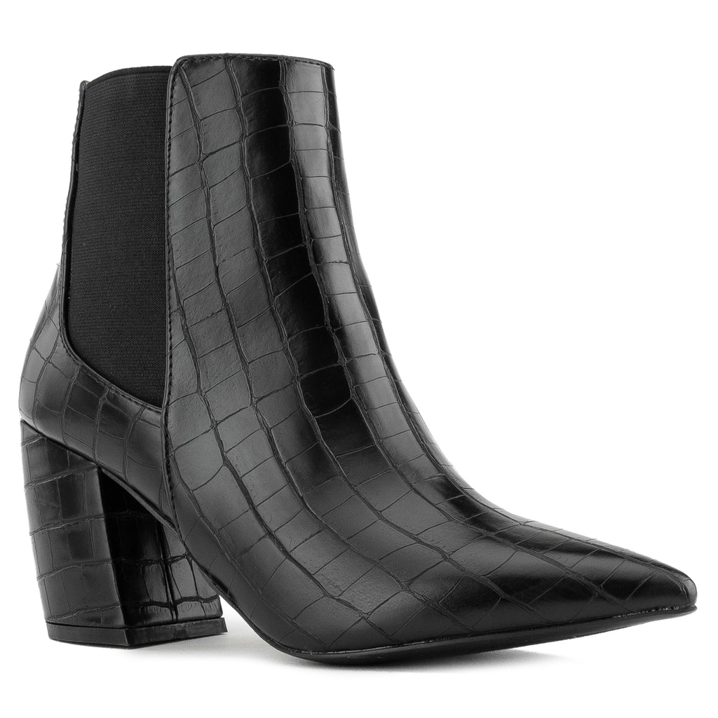 Pointy Toe Block Heel Chelsea Ankle Booties BLACK