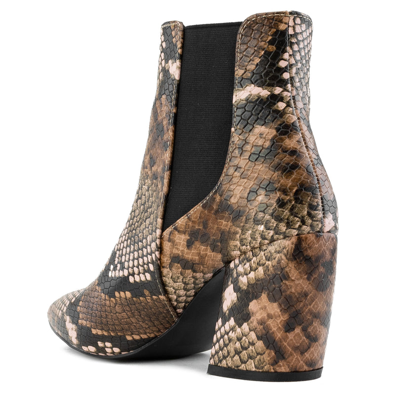 Pointy Toe Block Heel Chelsea Ankle Booties BROWN SNAKE