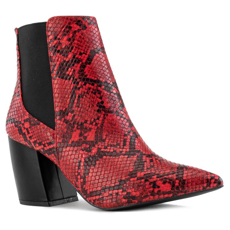 Pointy Toe Block Heel Chelsea Ankle Booties RED