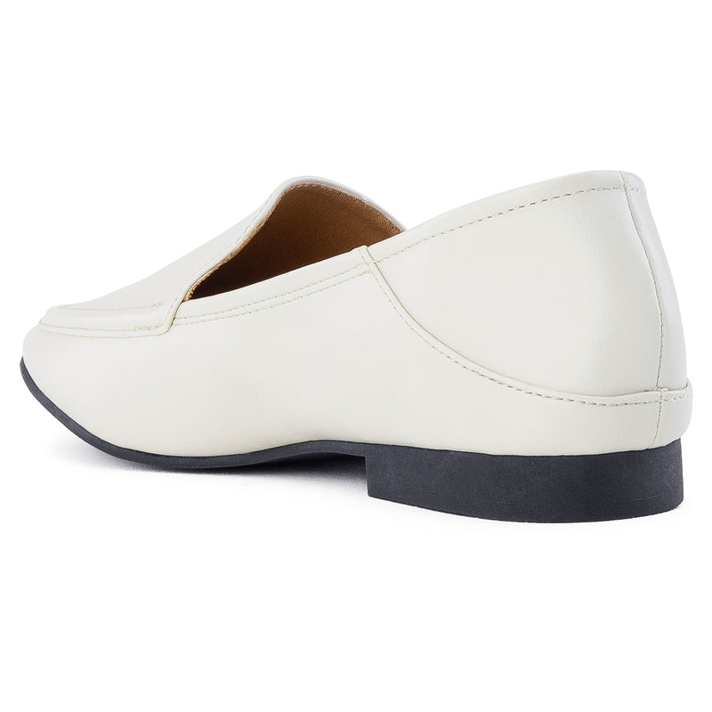 Feather Light Comfortable Classic Square Toe Flats Loafers WHITE