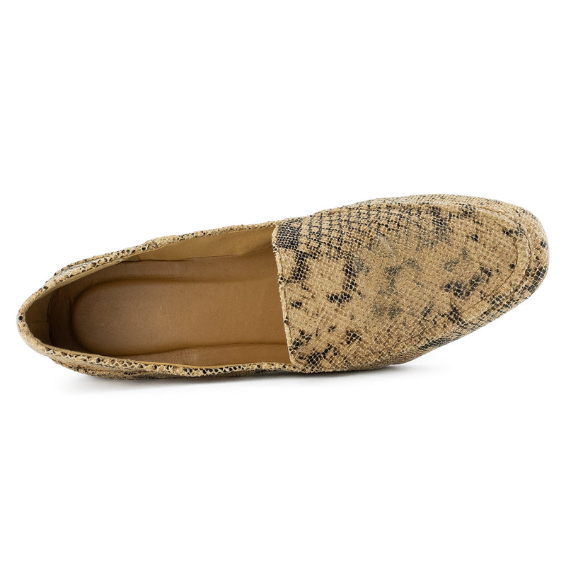 Feather Light Comfortable Classic Square Toe Flats Loafers TAN SNAKE