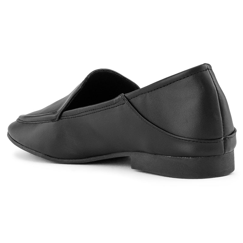 Feather Light Comfortable Classic Square Toe Flats Loafers BLACK