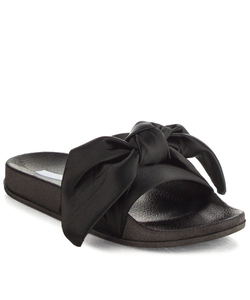 Cape Robbin Fashion Bow Decor Slip On Slide Sandal BLACK