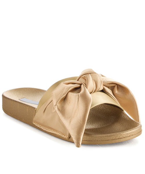 Cape Robbin Fashion Bow Decor Slip On Slide Sandal GOLD