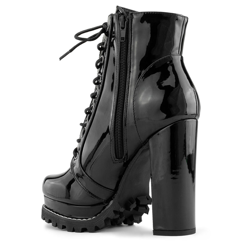 Lug Sole Platform Chunky Heel Combat Ankle Boots BLACK PATENT