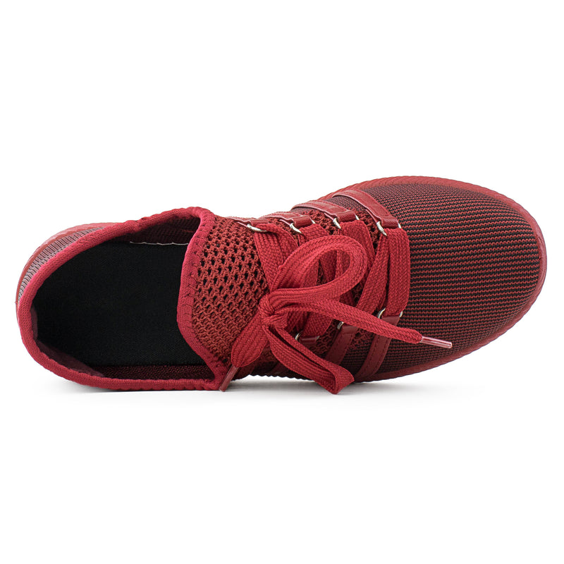 Women's Breatheable Top Lace Up Comfort Walking Sneakers Shoes RED