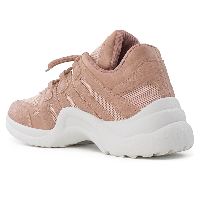 Women's Trendy Lace Up Platform Dad Sneakers Walking Shoes MAUVE