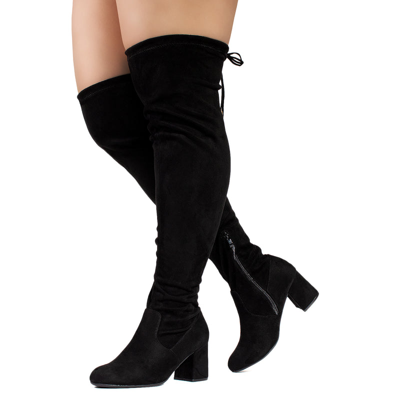 """Wide Calf & Wide Width"" Stretchy Over The Knee Boots BLACK"