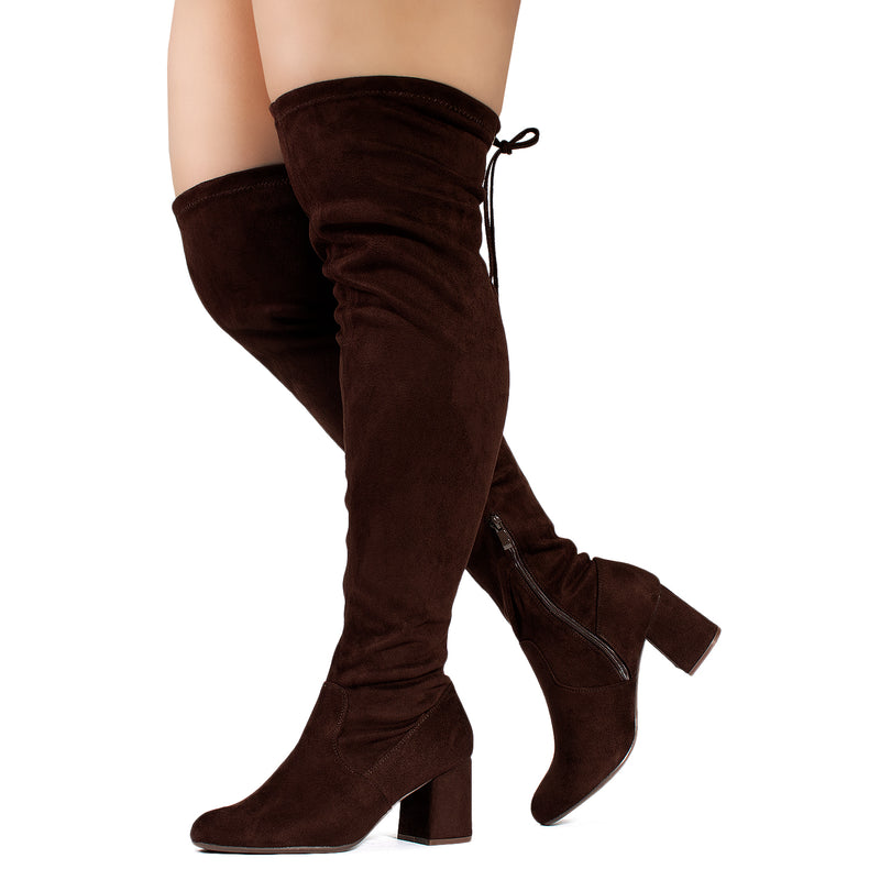 """Wide Calf & Wide Width"" Stretchy Over The Knee Boots BROWN"