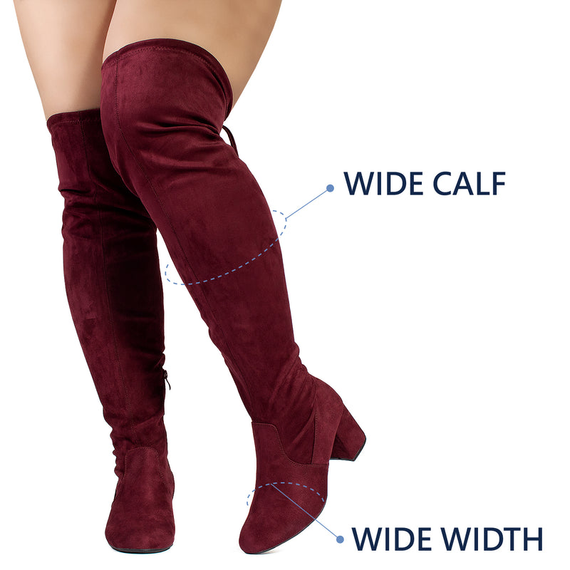 """Wide Calf & Wide Width"" Stretchy Over The Knee Boots BURGUNDY"