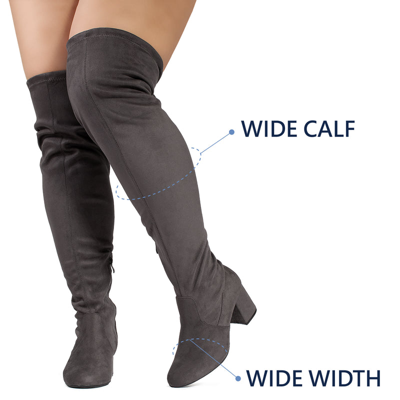 """Wide Calf & Wide Width"" Stretchy Over The Knee Boots GREY"