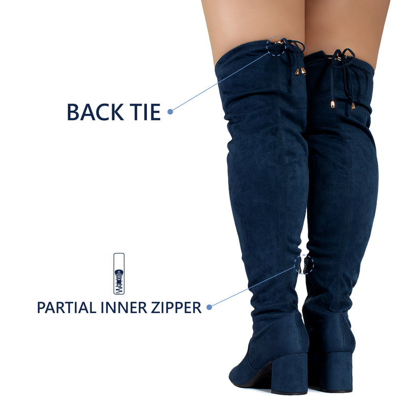"""Wide Calf & Wide Width"" Stretchy Over The Knee Boots NAVY"