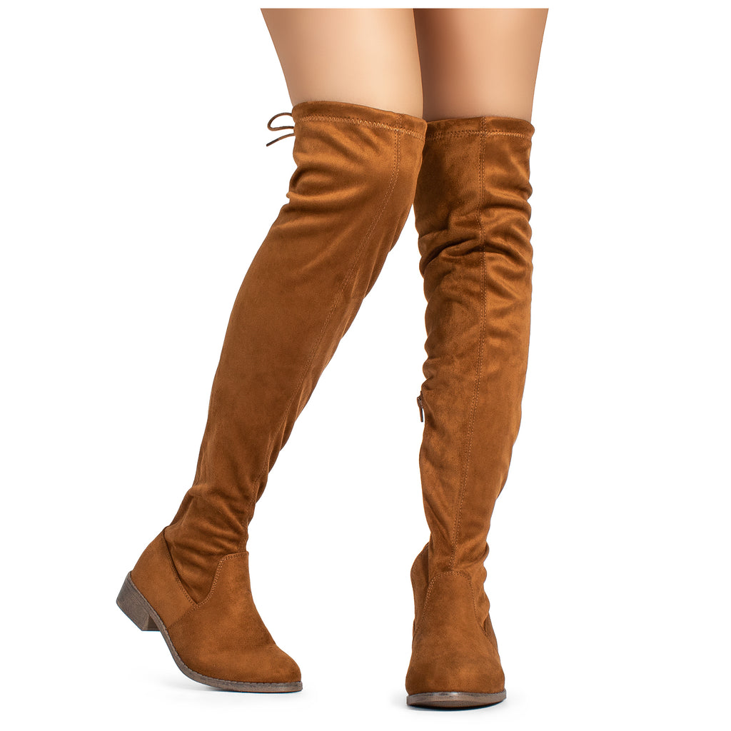 """Medium Calf"" Flat Low Heel Stretch Over The Knee Boots TAN"