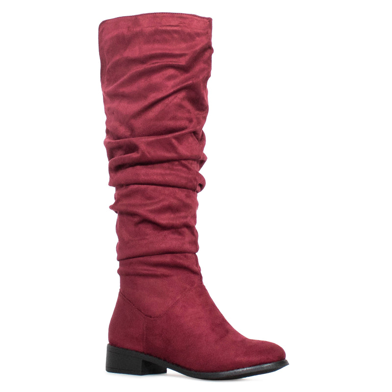 Women's Slouchy Pull On Low Block Heel Knee High Boots BURGUNDY