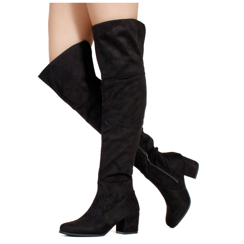 Women's Block Heel Pullon Over The Knee Boots - Medium Calf BLACK