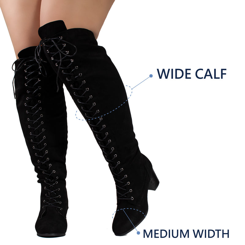 """Wide Calf"" Block Heel Lace Up Over The Knee Riding Boots BLACK"