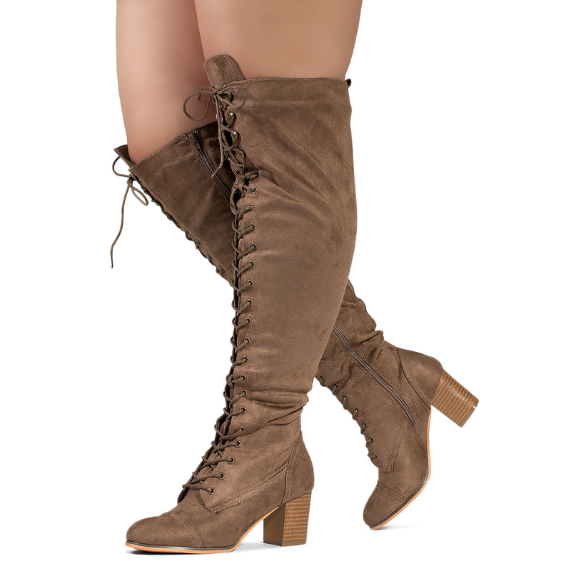"""Wide Calf"" Block Heel Lace Up Over The Knee Riding Boots TAUPE"