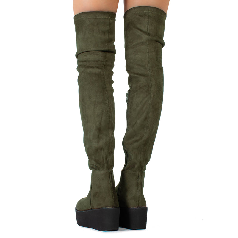 """Medium Calf"" Chunky Platform Over The Knee High Boots OLIVE"