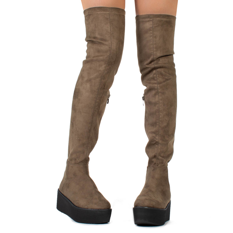 """Medium Calf"" Chunky Platform Over The Knee High Boots TAUPE"