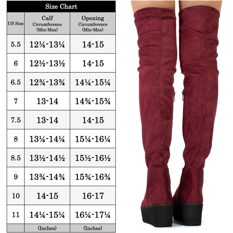 """Medium Calf"" Chunky Platform Over The Knee High Boots WINE"