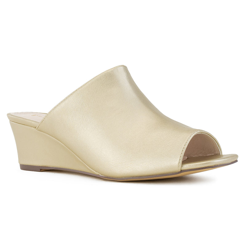 """Wide Width"" Slip On Low Platform Heel Mule Wedge Sandals GOLD"